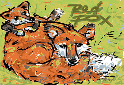 Red Foxes Drawing - Red Fox by Brett LaGue