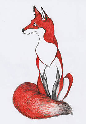 Red Foxes Drawing - Red Fox by Peggy Wilson