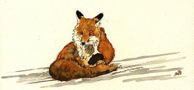 Red Fox Sitting Snow Original by Juan  Bosco