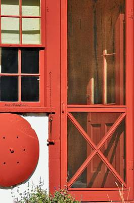 Red Framed Window And Door Print by Kae Cheatham