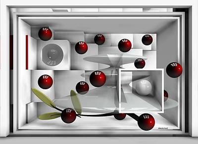 Abstract Digital Art - Red Fruits by Alberto  RuiZ
