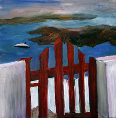 Atlantis Painting - Red Gate To Atlantis by Michael Helfen