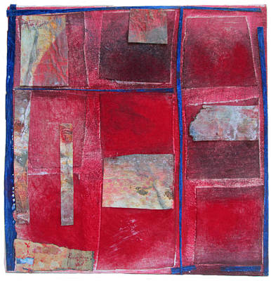 Collage Mixed Media - Red Geometry by Susan Parise