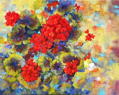 Red Geraniums II Print by Peggy Wilson