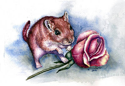 Gerbil Painting - Red Gerbil  by Karen Wheeler