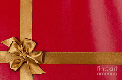 Ties Photograph - Red Gift Background With Gold Ribbon by Elena Elisseeva