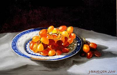 Red Grapes On Chinese Dsh Original by Jan Brieger-Scranton