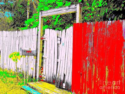 Red Grey Gate 0552 14 Print by Nina Kaye