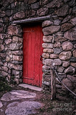 Red Grist Mill Door Print by Edward Fielding