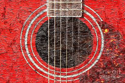 Red Guitar - Digital Painting - Music Print by Barbara Griffin