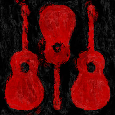 Red Guitars Print by David G Paul
