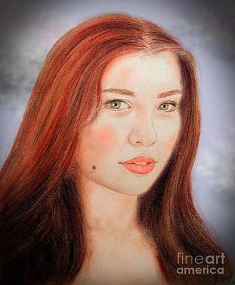 Beauty Mark Drawing - Red Hair And Blue Eyed Beauty With A Beauty Mark II by Jim Fitzpatrick