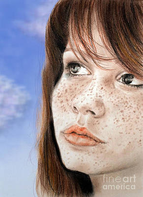 Freckles Drawing - Red Hair And Freckled Beauty Version II by Jim Fitzpatrick