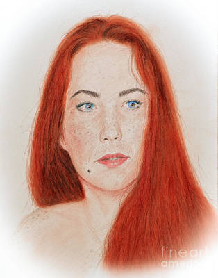 Beauty Mark Drawing - Red Headed Beauty by Jim Fitzpatrick
