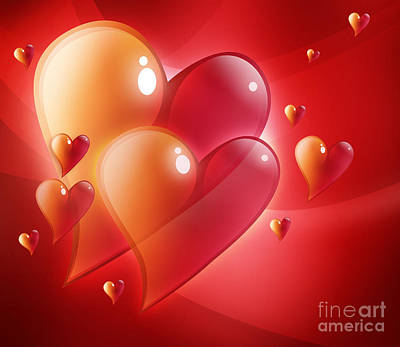 Digital Art - Red Hearts In Love by Angela Waye