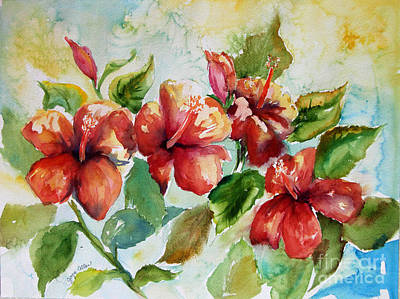 Beach Painting - Red Hibiscus Flowers by Joyce Allen