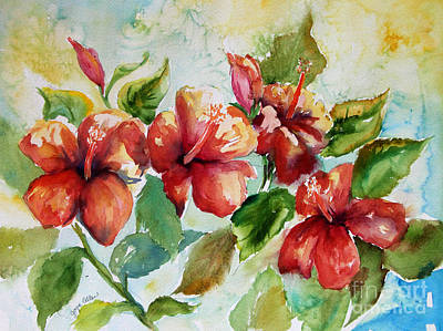 Hibiscus Painting - Red Hibiscus by Joyce Allen