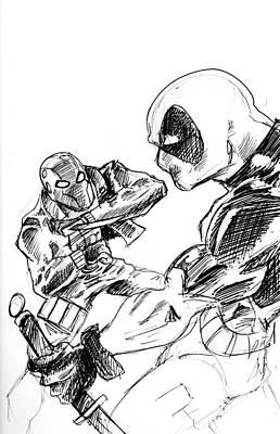 Drawing - Red Hood Vs Deadpool by Big Mike Roate