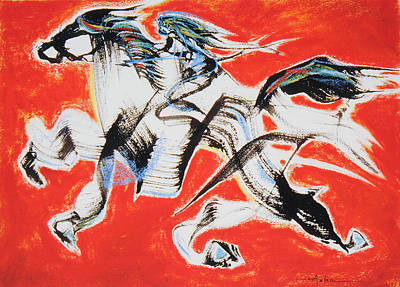 Red Horse And Rider Print by Asha Carolyn Young