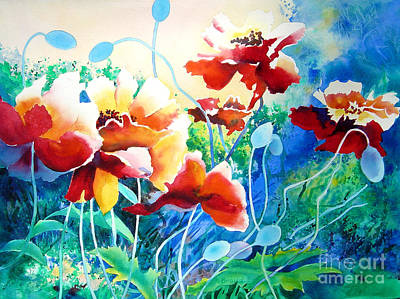 Of Cool Colors Painting - Red Hot Cool Blue by Kathy Braud