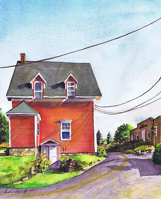 Maine Roads Painting - Red House Bass Harbor by Susan Herbst