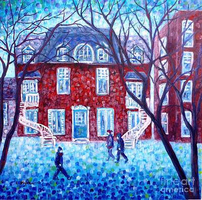 Montreal Cityscapes Painting - Red House In Montreal - Cityscape by Cristina Stefan