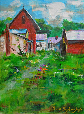 Old Barn Drawing - Red House by Sun Sohovich