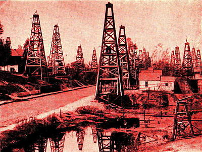 Red Indiana Oil Wells Circa 1900 Print by Unknown