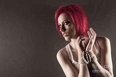 Erotica Photograph - Red Is Restrained by John Tisbury
