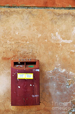 Red Italian  Mailbox On Ochre Wall Print by Sami Sarkis