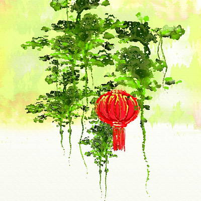 Hill Top Village Painting - Red Lantern  by Len YewHeng