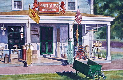 Store Fronts Painting - Red Lion Antiques by Karol Wyckoff