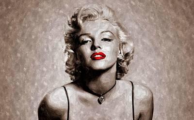Marilyn Monroe Painting - Red Lips Marilyn by Florian Rodarte