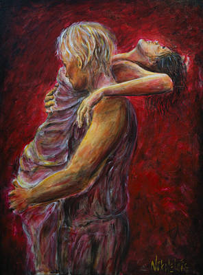 Tango Painting - Red Lovers 03 by Nik Helbig