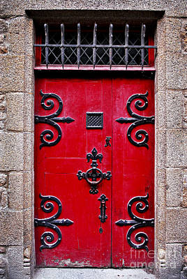 Entrance Photograph - Red Medieval Door by Elena Elisseeva