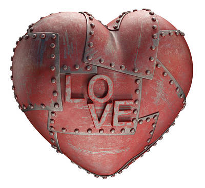 Rivets Photograph - Red Metal Heart by Ktsdesign