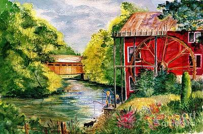 Old Mill Scenes Painting - Red Mill At Waupaca by Marilyn Smith