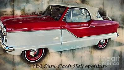 Red Mini Nash Vintage Car Print by Peggy  Franz