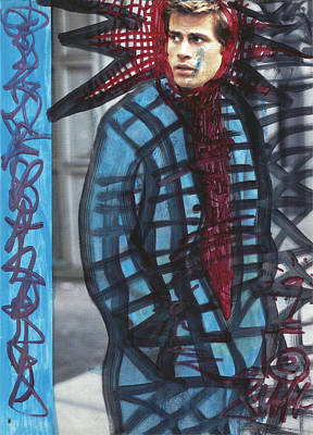 Electronic Drawing - Red Model Pop Graffiti #3. by Edward X