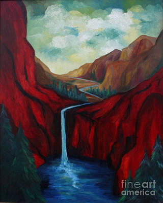 Waterscape Painting - Red Mountains I by Larry Martin