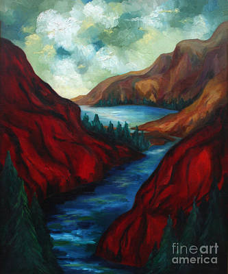 Waterscape Painting - Red Mountains II by Larry Martin