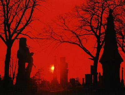 Graveyard Digital Art - Red Night by Gothicolors Donna Snyder