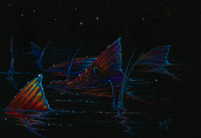 Trout Mixed Media - Red Night  by Yusniel Santos