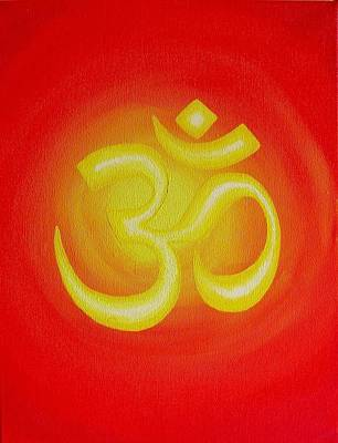 Buddhist Painting - Red Om by Michelle Eshleman