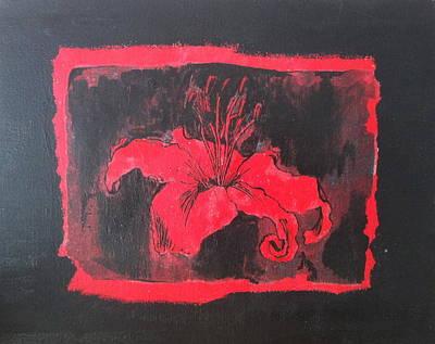 Red On Black Print by Megan Washington