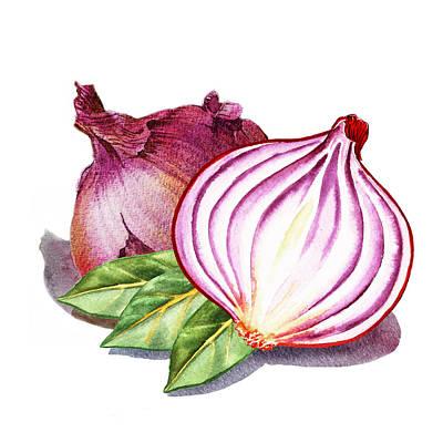 Onion Painting - Red Onion And Bay Leaves by Irina Sztukowski