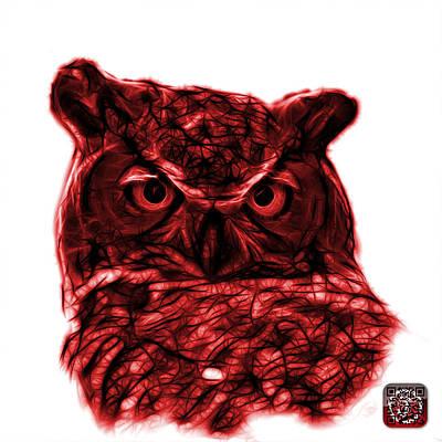 Owl Digital Art - Red Owl 4436 - F S M by James Ahn