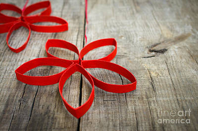 Red Paper Christmas Stars Print by Aged Pixel