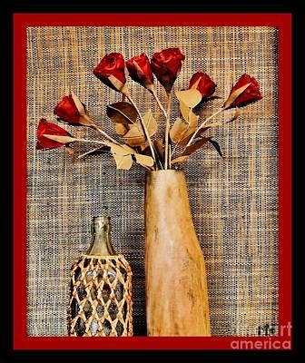 Mango Digital Art - Red Paper Roses Still Life by Marsha Heiken