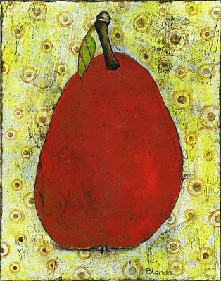 Pear Painting - Red Pear Circle Pattern Art by Blenda Studio